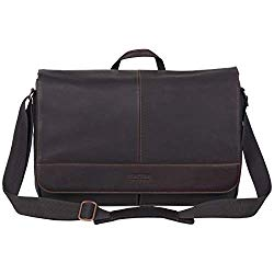 Kenneth Cole Reaction Come Bag Soon – Colombian Leather Laptop & iPad Messenger, Brown