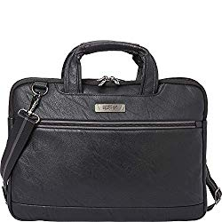 Kenneth Cole Reaction ProTec Faux Pebbled Leather Slim 16″ Laptop Business Briefcase / Tablet Bag, Black