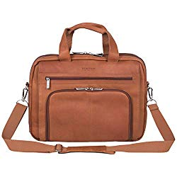 Kenneth Cole Reaction Reaction Manhattan Colombian Leather Expandable RFID 15.6″ Laptop Business Briefcase Bag, Cognac