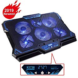 KEYNICE Laptop Cooling Pad, Notebook Cooler with 6 Quiet Fan, Dual USB Port, 5 Wind Speed Adjustable, Blue LED Light, Fit 12″-17″ Computer, Portable Cooler Pad with LCD Screen, Gaming Laptop Cooler