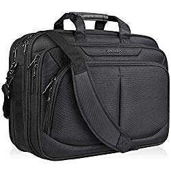 KROSER 17.1″ Laptop Bag for 17″ Laptop Briefcase Water-Repellent Expandable Computer Bag Business Messenger Bag Shoulder Bag for School/Travel/Women/Men-Black
