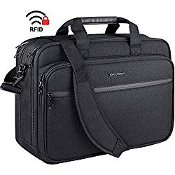 KROSER 18″ Laptop Bag Premium Laptop Briefcase Fits Up to 17.3 Inch Laptop Expandable Water-Repellent Shoulder Messenger Bag Computer Bag with RFID Pockets for Travel/Business/School/Men/Women-Black