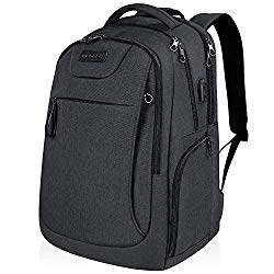 KROSER Laptop Backpack for 17.3 Inch Laptop Anti-Theft Large Computer Backpack with USB Charging Port Water-Repellent Casual Daypack for Travel/Business/School/College/Men/Women-Charcoal Black