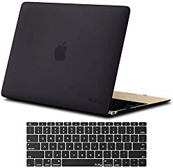 Kuzy – MacBook 12 inch Case and Keyboard Cover for Model A1534 with Retina Display Soft Touch Hard Cover Shell – New Version – Black