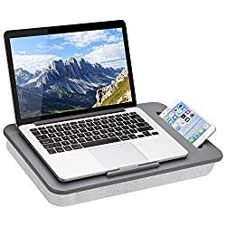 LapGear Sidekick Lap Desk with Device Ledge and Phone Holder – Gray – Fits Up to 15.6 Inch Laptops – Style No. 44215