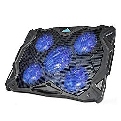 Laptop Cooling Pad, TeckNet USB Powered Silent Gaming Laptop Notebook Cooler Cooling Pad Stand with 5 Fans and Blue LED Lights for MacBook Pro, Fits 12″-17″ …