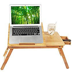 Laptop Desk Tray,Breakfast Serving Bed Tray, Computer, Notebook, Ipad, Book Holder & Stand, Adjustable & Foldable with Flip Top and Drawer, 100% Bamboo – by Ybj-ake