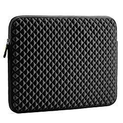 Laptop Sleeve, Evecase 15~15.6 inch Diamond Foam Splash & Shock Resistant Neoprene Universal Sleeve Zipper Case Bag for Dell HP Gaming Chromebook Ultrabook Notebook – Black