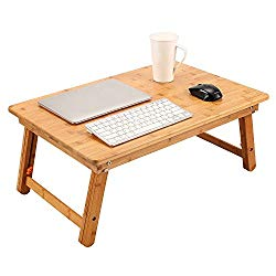 Large Size Laptop Tray Desk NNEWVANTE Foldable Bed Table Tray, Adjustable Coffee/TV Desk 100% Bamboo Breakfast Serving Tray Gaming Writing 4 Leg Locks Support up to 18in Laptop, 29.5×17.7in