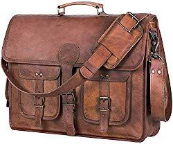 Leather Briefcase Laptop bag 18 inch Handmade Messenger Bags Best Satchel by KPL