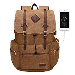 Modoker Canvas Leather Rucksack Backpack Vintage Laptop Bookbag for Men Women, Brown Travel Laptop Backpack with USB Charging Port College School Computer Bag Vegan Daypack