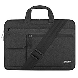 MOSISO Laptop Shoulder Bag Compatible with 13-13.3 inch MacBook Pro, MacBook Air, Notebook Computer, Protective Polyester Flapover Messenger Briefcase Carrying Handbag Sleeve Case Cover, Black
