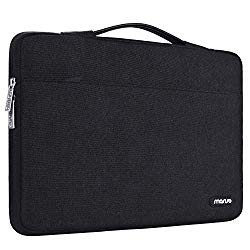 MOSISO Laptop Sleeve 360 Protective Case Bag Compatible with 13-13.3 inch MacBook Pro, MacBook Air, Notebook with Trolley Belt, Polyester Shockproof Carrying Case Handbag, Black