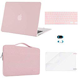 MOSISO MacBook Air 13 inch Case (A1369 A1466,Older Version 2010-2017 Release),Plastic Hard Case & Sleeve Bag & Keyboard Cover & Webcam Cover & Screen Protector Compatible with Mac Air 13, Rose Quartz