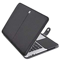 MOSISO MacBook Air 13 inch Case, Premium PU Leather Book Folio Protective Stand Cover Sleeve Compatible with MacBook Air 13 inch A1466 / A1369 (Older Version Release 2010-2017), Black