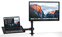 Mount-It! MI-4352MN Laptop Desk Stand and Monitor Mount, Full Motion Height Adjustable Holder, Fits up to 17 Inch Notebooks, VESA 75, 100 Compatible with 22, 23, 24, 27 inch Screens, Carries 44 Lb