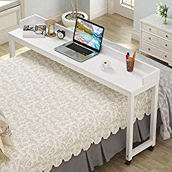 "Overbed Table with Wheels, Tribesigns 70.8"" Queen Size Mobile Desk with Heavy-Duty Metal Legs, Works as Pub Table, Counter Height Dining Table or Computer Table Desk, Super Sturdy and Stable (White)"