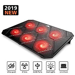 Pccooler Laptop Cooling Pad, Powerful Slim Quiet Laptop Cooler for Gaming Laptop – 6 Red LED Fans – Dual USB 2.0 Ports – Portable Height Adjustable Laptop Stand, Fits 12-17 Inches