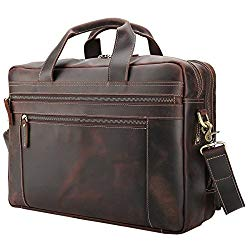 "Polare Men's Full Grain Leather 17"" Briefcase Laptop Business Bag with YKK Metal Zippers"