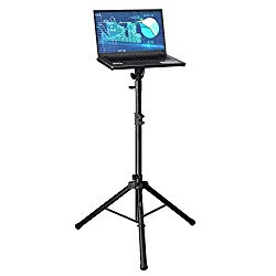 Professional Adjustable 32.3″ – 52″ Laptop DJ Mixer Tripod Stand | Lightweight & Portable 15.3″ x 12.2″ Tilted Tri-Pod Tray for Processors, Audio Controllers & Tablets | Raised Edges for Protection