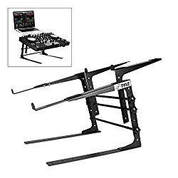 Pyle Portable Dual Laptop Stand – Universal Standing Table with Adjustable Height, Ergonomic Design & Anti-Slip Prongs for DJ Mixer, Sound Equipment, Workstation, Gaming & Home Use – PLPTS38