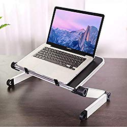 RAINBEAN Adjustable Laptop Stand Table for Office,Portable Lap Desk Stand Compatible Notebook Tablets MacBook,Foldable Lift Bracket Aluminum Ergonomics Design,Office or Home Desk-Black