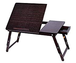 Sofia + Sam Bamboo Laptop Lap Tray with Adjustable Legs – Foldable Breakfast Serving Bed Tray – Lap Desk with Tilting Top and Side Drawer – Laptop Stand – Walnut