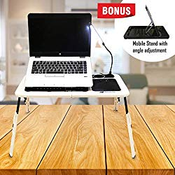 Sunny Gx Foldable Laptop Table – Laptop Desk for Bed, 4 Different Height Adjustments, 2 Cooling Fan, LED Light With Brightness Control, Foldable Bed Desk For Laptop, Writing in Sofa,Couch Wood, White