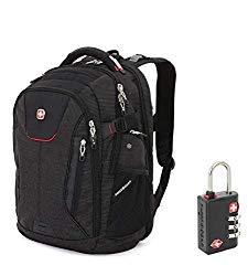 SWISSGEAR 5358 Ultimate Protection USB TSA Friendly Scansmart Laptop Backpack and Cable Lock Bundle-Black