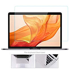 Tempered Glass Screen Protector Compatible 2019 2018 MacBook Air 13 with Touch ID A1932 with Gift Microfiber Keyboard Cover Cloth/2016-2019 New MacBook Pro 13 Model A2159 A1706 A1708 A1989, Bubble Free
