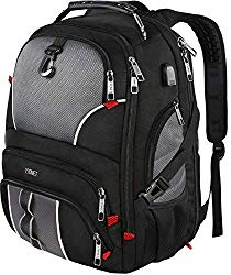 Travel Backpacks for Men, Extra Large TSA Friendly Business Anti Theft Durable Laptop Backpack Fits 17 inch Laptops with USB Charging Port, Water Resistant College School Computer Bookbag 50L, Black