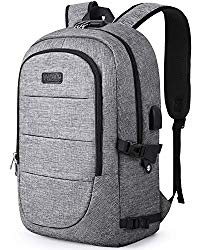 Travel Laptop Backpack, AMBOR 17.3 Inch Anti Theft Business Backpack with USB Charging Port and Headphone Interface,Large Computer Backpack School Daypack Backpack for Women and Men-Grey