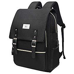 """Unisex College Bag Fits up to 15.6"""" Laptop Casual Rucksack Waterproof School Backpack Daypacks (AllBlackWithUSB)"""