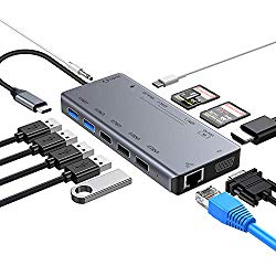USB C Hub, 13-in-1 USB Type C Hub with Ethernet, 4K HDMI, VGA, 3 USB 2.0, 2 USB 3.0, 3-Slot Card Reader, 3.5mm Audio and Power Delivery, USB C Hub Adapter Compatible with Mac-Book Pro, DELL, HP, etc.
