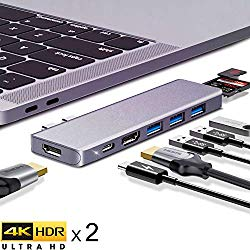 USB C Hub, ANWIKE USB Type-C Docking Station with Dual 4k HDMI Adapter for MacBook Pro & MacBook Air 2019 2018, 8-in-1 Type-C HUB Multiple Adapter Dongle w/ 87W USB-C PD, 3 USB 3.0, SD/TF Card Reader