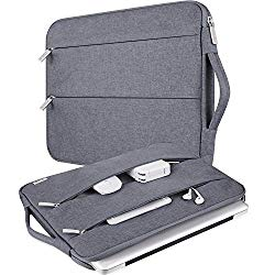 V Voova Laptop Sleeve Case 13 13.3 Inch Compatible Chromebook, MacBook Pro 13.3″, MacBook Air, Surface Book 2, HP, Waterproof Protective Notebook Cover Bag with Carry Handle & 2 Side Pockets, Grey