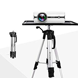 "VANKYO Aluminum Tripod Projector Stand, Adjustable Laptop Stand, Multi-Function Stand, Computer Stand Adjustable Height 17"" to 46"" for Laptop with Plate and Carrying Bag (1-Silver)"
