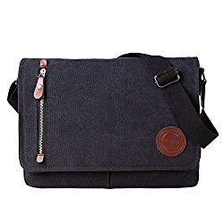 Vintage Canvas Satchel Messenger Bag for Men Women,Travel Shoulder bag 13.5″ Laptop Bags Bookbag (Black)