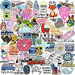 Vsco Stickers 70 Pack I Cute Stickers Waterproof 100% Vinyl Stickers I Vsco Girls Stuff, Aesthetic Stickers, Vsco Stickers for Water Bottle, Laptop Stickers, Cellphone, Skateboard (70 Pack