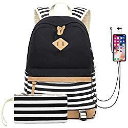 Waterproof Canvas Backpack for College Girls Women USB Charging Port Fits 14″ Laptop Backpack Daypack School Bookbag (Black)
