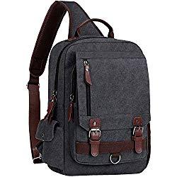 WOWBOX Sling Bag for Men Women Sling Backpack Laptop Shoulder Bag Retro Canvas Crossbody Messenger Bag Fit 15.6″ Laptop Tablet