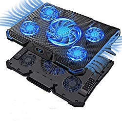 """Wsky Laptop Cooler, Ultra Slim 12""""-17"""" inch Laptop Cooling Pad with 5 Quiet Fans and Blue LED Light, Dual 2 USB 2.0 Ports, Adjustable Mount Stand Height Angle"""
