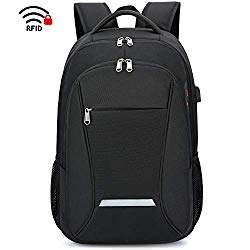 XQXA Laptop Backpack, Travel Business Backpack for Men & Women with USB Charging Port, Water Resistant Anti Theft School College Computer Back Pack Bag Fits Up to 17 Inch Notebook – Black