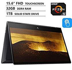 2019 Newest HP Envy x360 2-in-1 15.6″ FHD IPS Micro-Edge Touchscreen Laptop, AMD Ryzen5 3500U Processor up to 3.7GHz, 32GB RAM, 1TB M.2 SSD, HDMI, Wireless-AC, Bluetooth, Windows 10, Nightfall Black