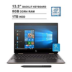 2020 HP Newest Spectre x360 13.3 Inch FHD Touchscreen 2-in-1 Laptop (Intel Core i7-8565U 4.60 GHz, 8GB DDR4 RAM, 1TB PCIe SSD, Bluetooth, Backlit Keyboard, Bang & Olufsen, Windows 10) (Silver)