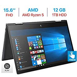 "HP Envy x360 15.6"" Touchscreen 2-in-1 FHD (1920×1080) Laptop PC, Quad Core AMD Ryzen 5 2500U up to 3.6GHz, 12GB DDR4 SDRAM, 1TB HDD, Backlit Keyboard, B&O Play, HDMI, Bluetooth, Windows 10"