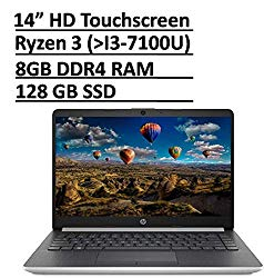 Latest HP 14 Premium Thin & Light Touchscreen Laptop Computer PC 14″ HD Micro-Edge Display AMD Ryzen 3 3200U /Radeon Vega 3, 8GB RAM 128GB SSD USB-Type C HDMI RJ-45 WiFi Webcam Win 10-Accessory Bundle