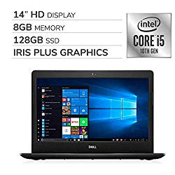 Dell Inspiron 2020 Premium 14″ HD Laptop Notebook Computer, 4-Core 10th Gen Intel Core i5-1035G4 up to 3.7 GHz, Iris Plus Graphics, 8GB RAM, 128GB SSD, No DVD,Webcam,Bluetooth,Wi-Fi,HDMI,Windows 10