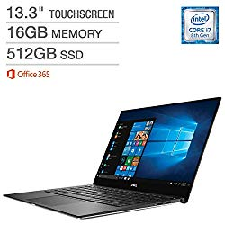 Dell XPS 13 9370, 13.3in TouchScreen InfinityEdge 4K UHD (3840×2160), Intel Quad-Core i7-8550U, 512GB PCIe SSD, 16GB RAM, ThunderBolt 3, Windows 10 (Renewed)
